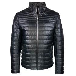 doudoun –blouson-en- cuir-noir-matelasse-reykjavik-face