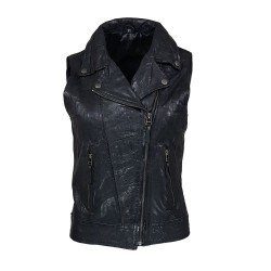 black leather vest woman