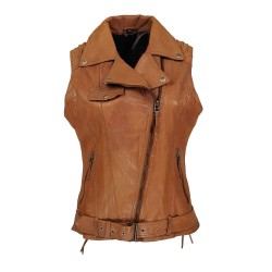 camel woman leather vest