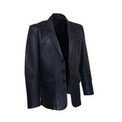 black leather men's blazer
