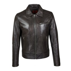 men's jacket leather uno brown