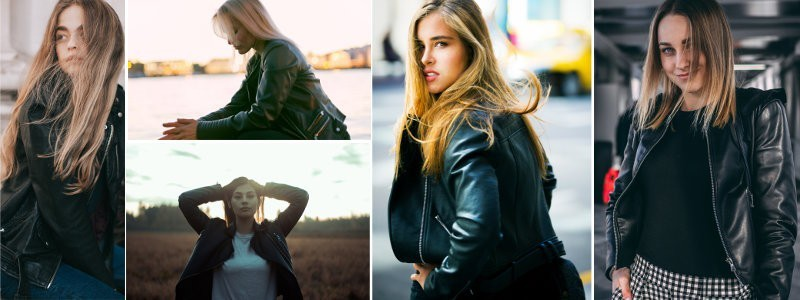women's leather round collar jacket